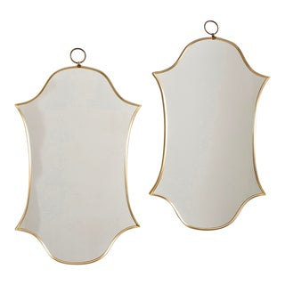 Double Shield Form Modernistic Brass Frame Mirrors - Pair For Sale