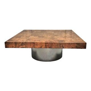 1960's Mid-Century Modern Milo Baughman Olive Wood Veneer & Chrome Coffee Table For Sale