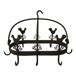 20th Century French Country Black Iron Pot Rack With Chicken Motif For Sale