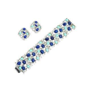 Mid-Century Faux Lapis & Turquoise Bracelet Set, 1960s For Sale