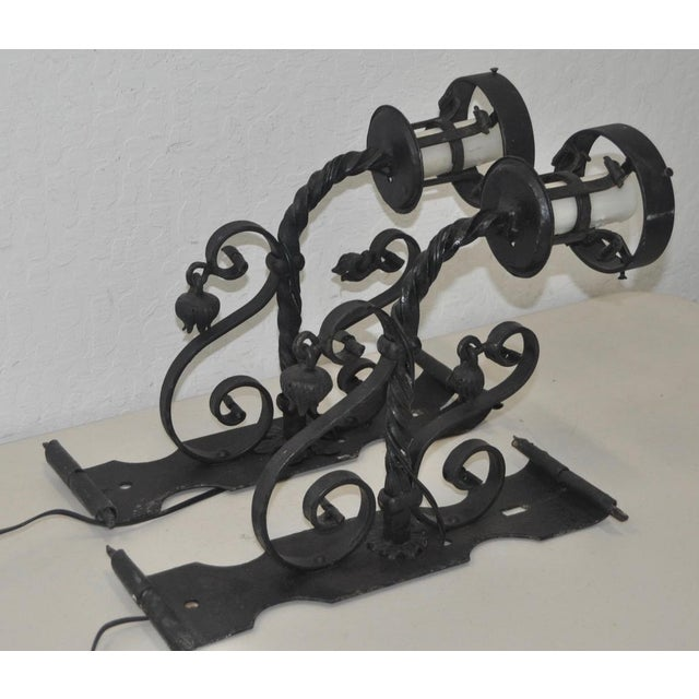 Early 20th Century Italian Wrought Iron Wall Sconces - A Pair For Sale - Image 4 of 5