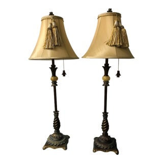 Candlestick Lamps With Faux Alabaster Detail and Tassel Shades - a Pair For Sale