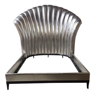 Hollywood Style Silver Leather Bedframe For Sale