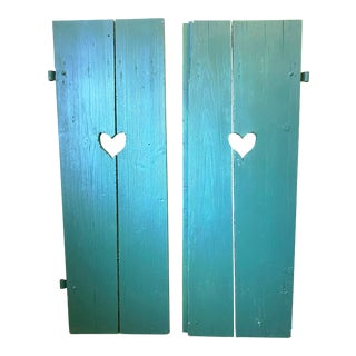 Large Antique Green Painted Window Shutters With Heart Cutouts - a Pair For Sale