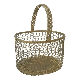 Vintage Hand Crafted Brass Chainlink Basket For Sale