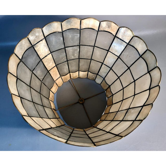 "Mid-Century Modern 1960s Mid Century Modern 16"" Capiz Shell & Brass Lamp Shade Scalloped Top and Base For Sale - Image 3 of 7"