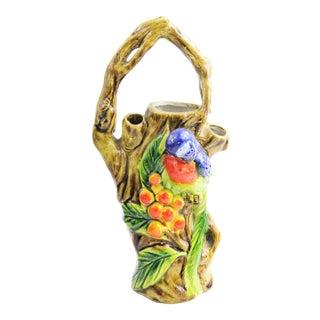 Vintage Colorful Majolica Bird & Tree Vase Made in Japan For Sale