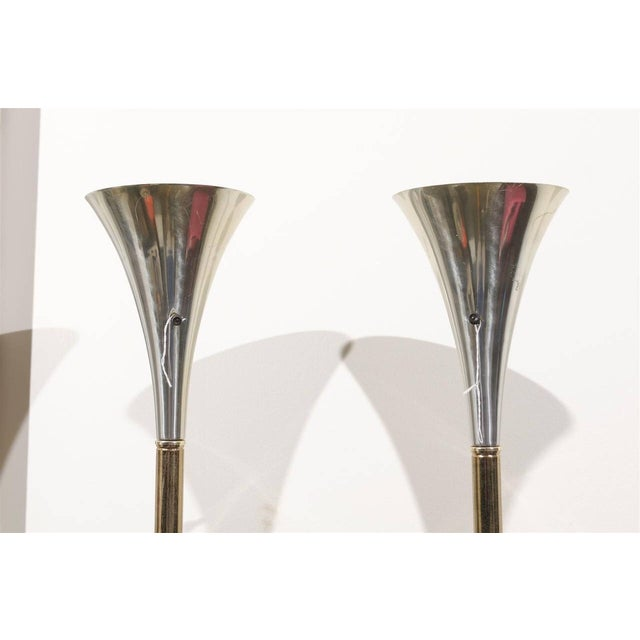 1960s MCM Brass & Chrome Torchiere Floor Lamps - A Pair For Sale - Image 5 of 6