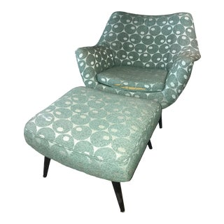 Mid-Century Mod Martini Olive Club Chair and Ottoman For Sale