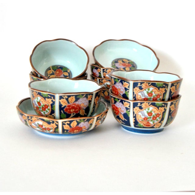 Imari Porcelain Imari Cherry Blossom Tea Cups and Saucers in Hinoki Wood Box - Set of 10 For Sale - Image 4 of 9