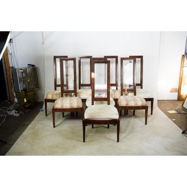 Lucite and Birdseye Maple Veneer Mid-Century Modern Dining Chairs - Set of 8 - Image 4 of 11
