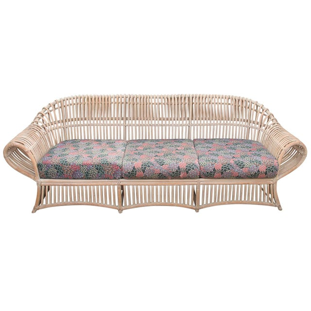 Tan 1960s Vintage Boho Chic Bamboo Sofa For Sale - Image 8 of 8