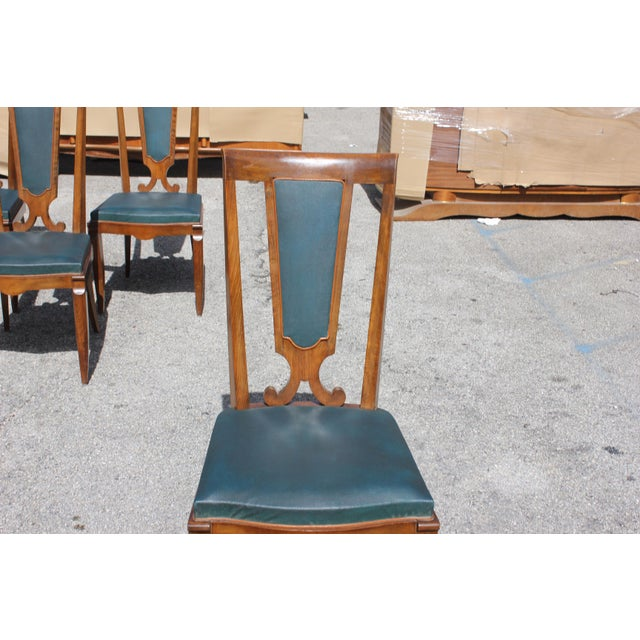 Green 1940s French Art Deco Solid Mahogany Dining Chairs by Jules Leleu - Set of 6 For Sale - Image 8 of 13