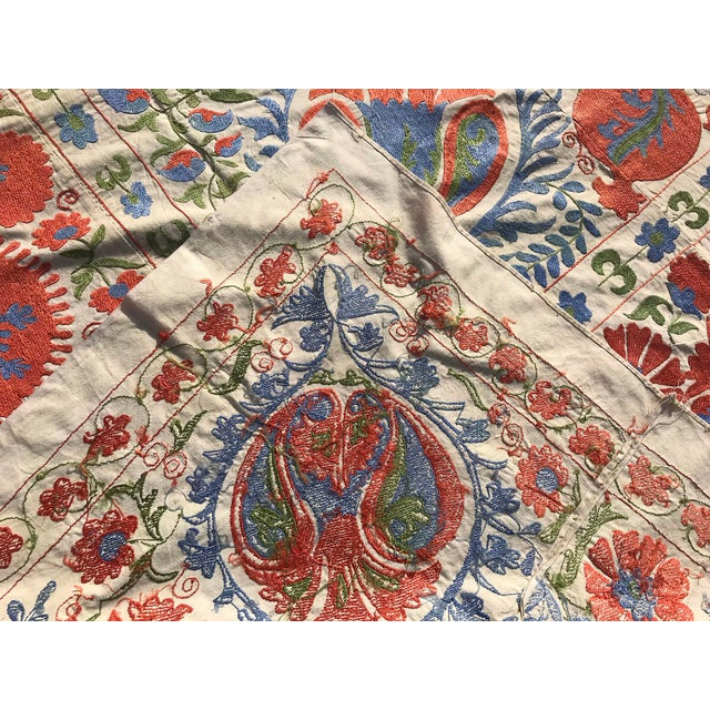 1990s Handmade Suzani Pastel Floral Grand King Size Bedspread - 8' X 10' For Sale - Image 5 of 10