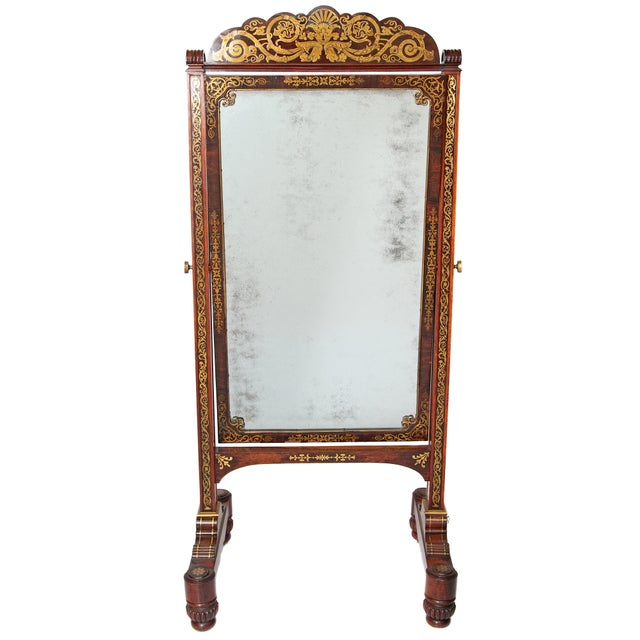 English Regency Rosewood Brass Inlay Boulle Work Cheval Mirror For Sale - Image 11 of 11