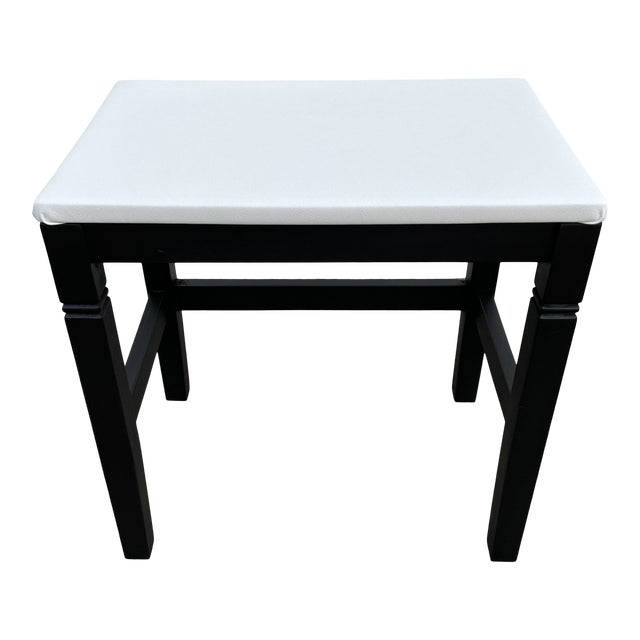1980s Vinyl Leather Wrapped Top Side Table For Sale
