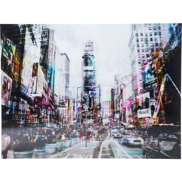 """Times Square polypropylene foil printed on tempered glass (4mm). Has blurred overlapping of two images creating a """"ghost..."""