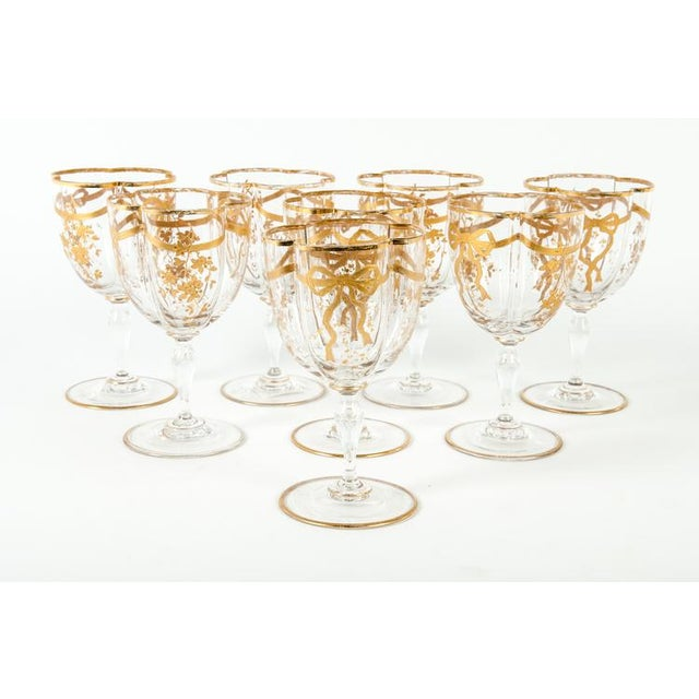 Antique French crystal wine / water glassware set of eight. Each glass measure 6 inches high x 3.5 inches diameter.