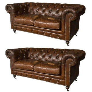 Pair of English Georgian Style Chesterfield Sofa Settees For Sale