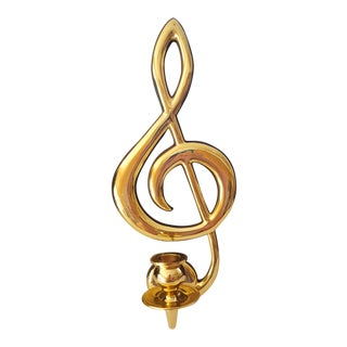 Vintage Brass Musical Note Hanging Candle Holder For Sale