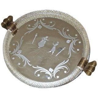 1940s Mid-Century Modern Murano Glass Round Vanity Tray