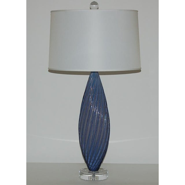 Hollywood Regency Vintage Murano Opaline Glass Table Lamps Lavender For Sale - Image 3 of 6
