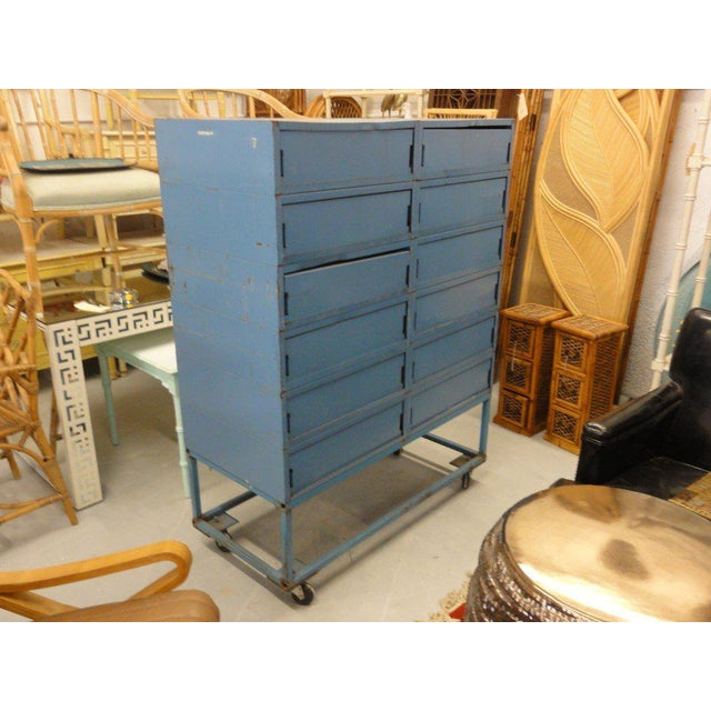 Vintage Blue Industrial Metal Cabinet - Image 10 of 11