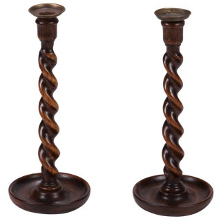 Pair of Twisted Candlesticks From England For Sale