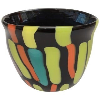 Murano Fratelii Pagnin Signed Italian Glass Vase For Sale