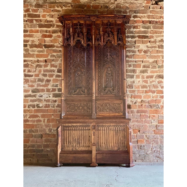 Gothic Revival Oak Cupboard Heavily Carved, circa 1850 For Sale - Image 11 of 13