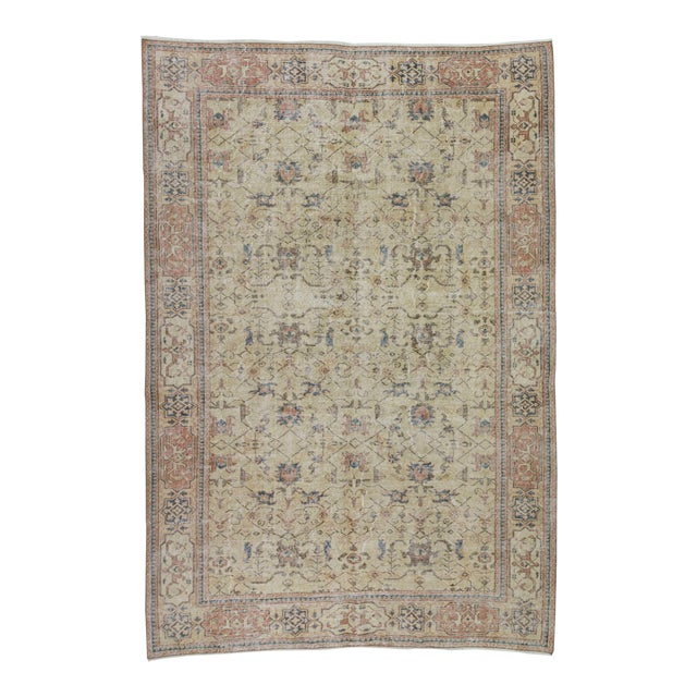 Vintage Turkish Oushak Distressed Rug- 6′7″ × 9′8″ For Sale