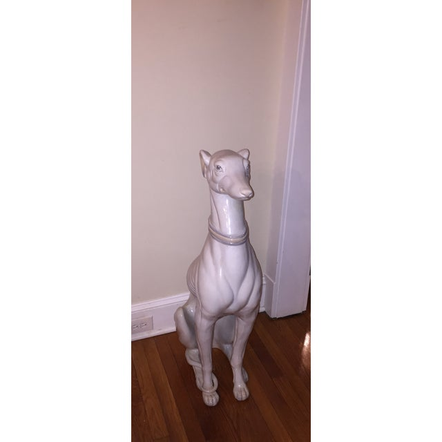 Hollywood Regency Porcelain Greyhound Statue - Image 4 of 4