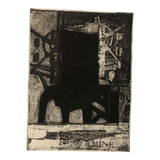 Abstract Industrial Etching & Aquatint, 1980 For Sale