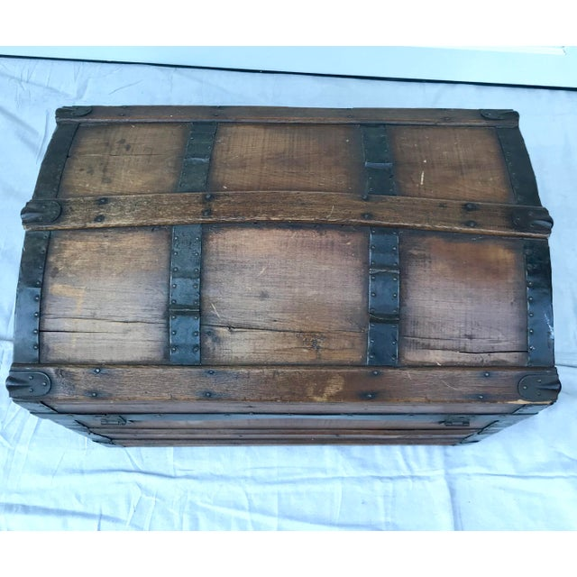 Metal 1850's Gothic Rounded Top Wooden Trunk For Sale - Image 7 of 8