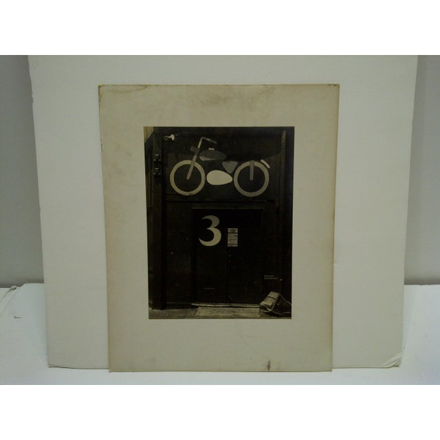 """Circa 1950 Vintage """"Motorcycle Door"""" Black & White Photograph For Sale - Image 5 of 5"""