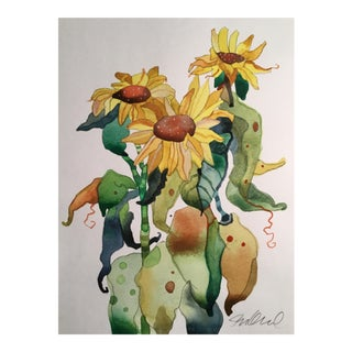 Fall Sunflowers Botanical Painting For Sale