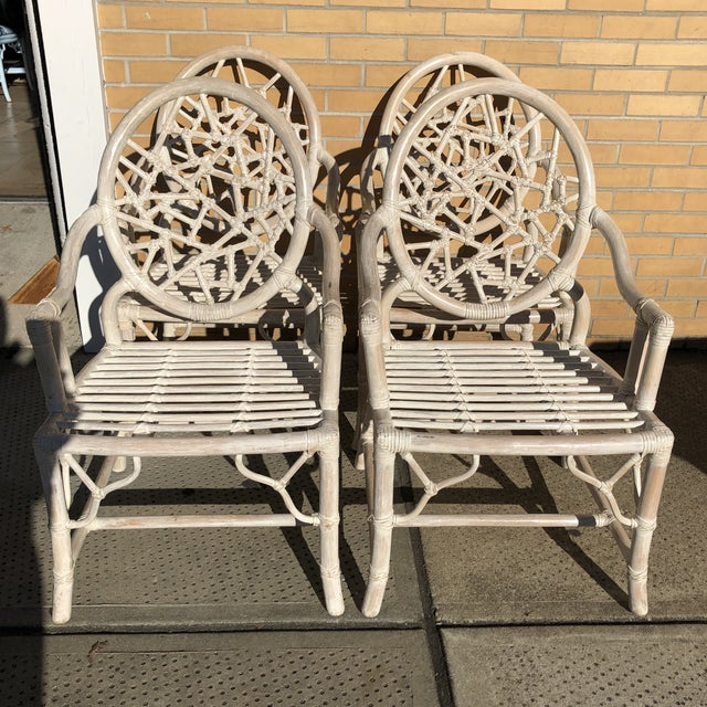 Wood S/4 Cracked Ice Rattan Arm Chairs, Att. McGuire For Sale - Image 7 of 7