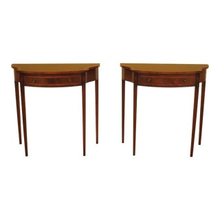 1990s Vintage Bevan Funnel English Mahogany 1 Drawer Hall Tables- A Pair For Sale