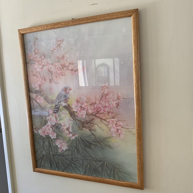 Drawing/Sketching Materials Large Vintage Watercolor Pastel Bird & Cherry Blossom Wall Art For Sale - Image 7 of 10
