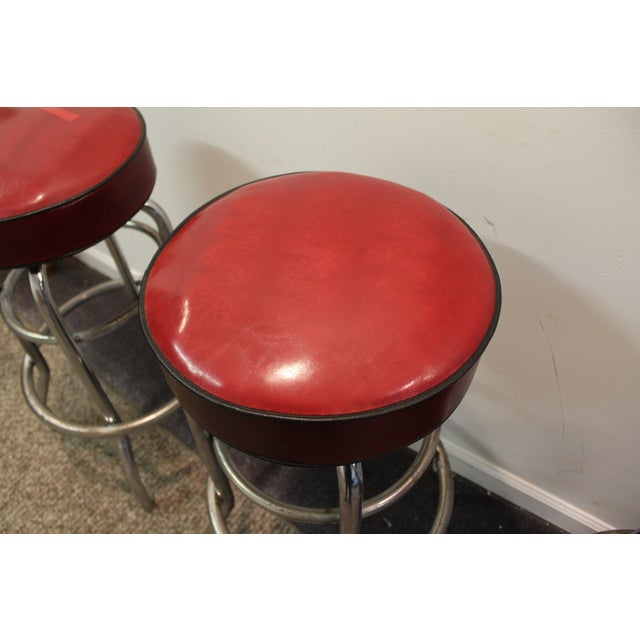 Mid Century Modern Swivel Bar Stools -- Set of 3 - Image 6 of 11