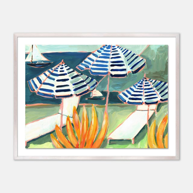 Contemporary Cabana 5 by Lulu DK in White Wash Framed Paper, Medium Art Print For Sale - Image 3 of 3