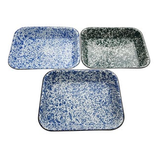 Vintage Splatterware Enamel Baking Dishes - Set of 3