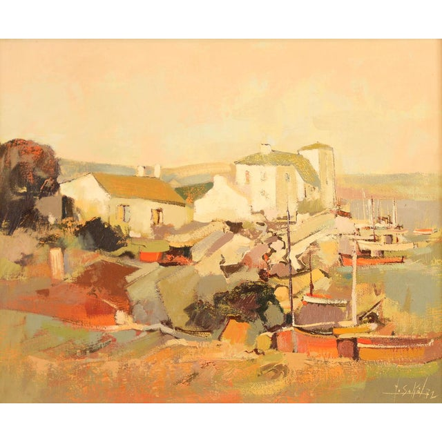 """Red Docks by the Marina"" French Oil Painting by Sokol - Image 3 of 10"