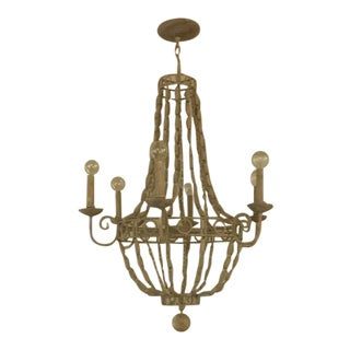 Cream Colored Wood and Metal Arteriors Chandelier For Sale