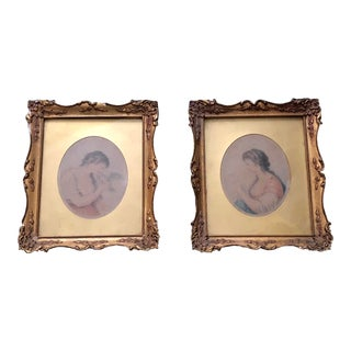 18th Century Antique Cipriani & Bartolozzi Georgian Miniature Stipple Engravings - A Pair For Sale