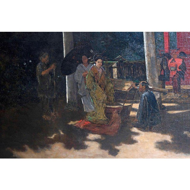 "Canvas Late 19th Century Francis Neydhart Oil on Canvas ""A Courtyard Ceremony, Nikko"" For Sale - Image 7 of 13"