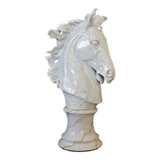 A Monumental and Expressive Italian Majolica Mid-Century White-Glazed Horse Head For Sale