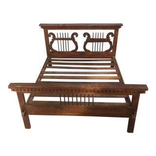 1800's Oak Doll Lyre Carved Bed For Sale
