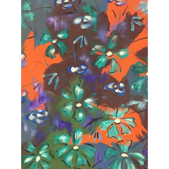 Boho Chic 1960s Vintage Original Haitian Floral Still Life Oil Painting by Listed Artist Paul Beauvoir For Sale - Image 3 of 13