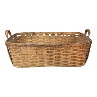 Rustic Rectangular Handled Farm Basket For Sale